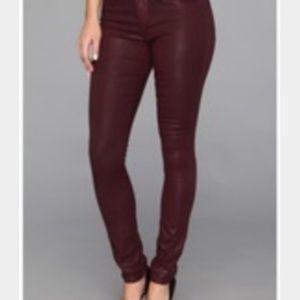 DKNY Burgundy Coated Skinny Jeans